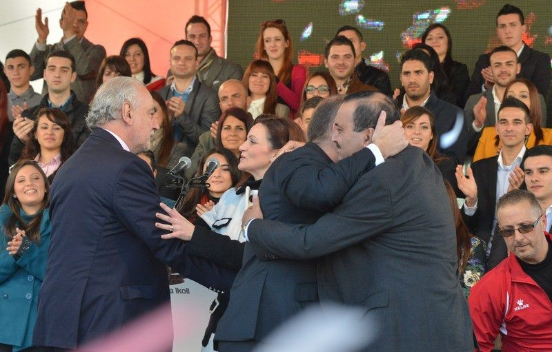 Joseph hugs Toni Abela the day after the Labour Party Club drugs scandal