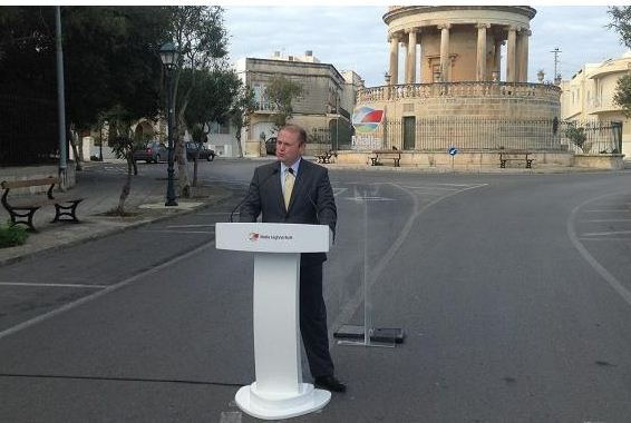 Joseph Muscat and his podium in Hal Lija this morning