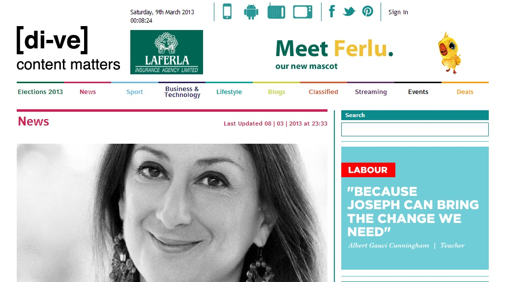 The abusive hypocrisy of it all: a Labour Party advert appears on the di-ve site right next to the report about my arrest for writing an article about Joseph Muscat on 'silence day'.