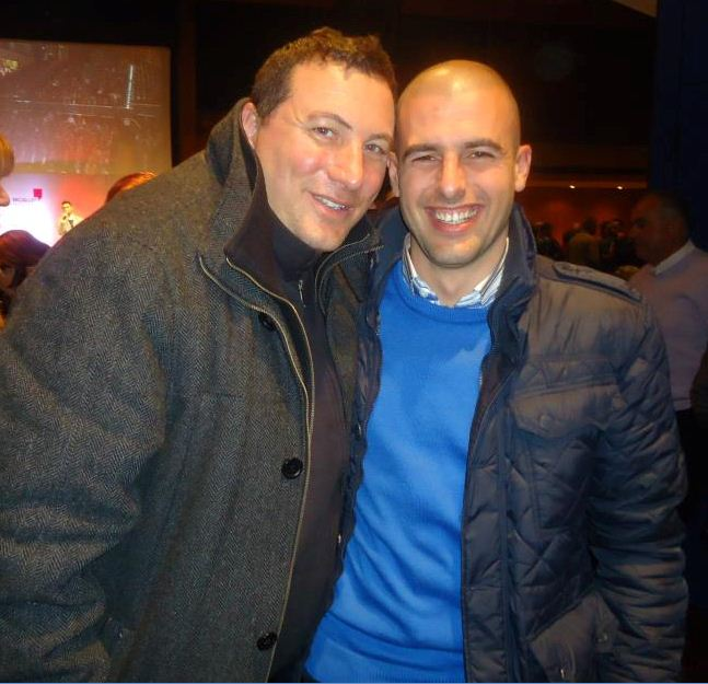 Iosif Galea with Natius Farrugia, the Labour mayor of Zurrieq and owner of a waxing salon, at a party for Jason Micallef, then a Labour candidate, during the last general election campaign