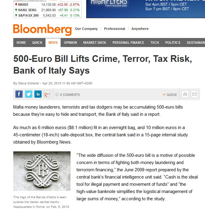 More about Eur500 notes and crime - Daphne Caruana Galizia's