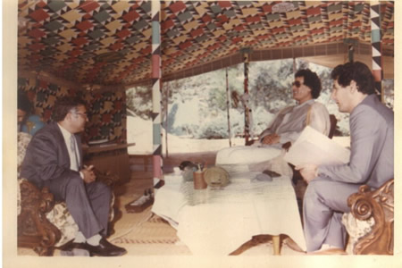 John Dalli in Gaddafi's tent, 1987: the relationship goes so far back that he used to wear white socks.