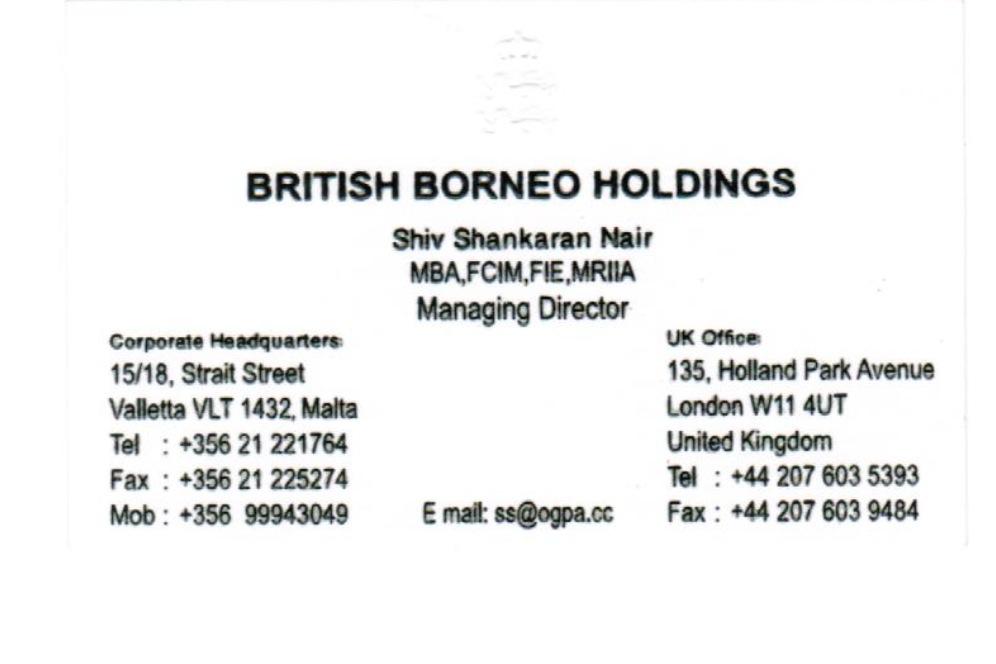 Shiv Nair business card - Daphne Caruana Galizia\'s Notebook ...
