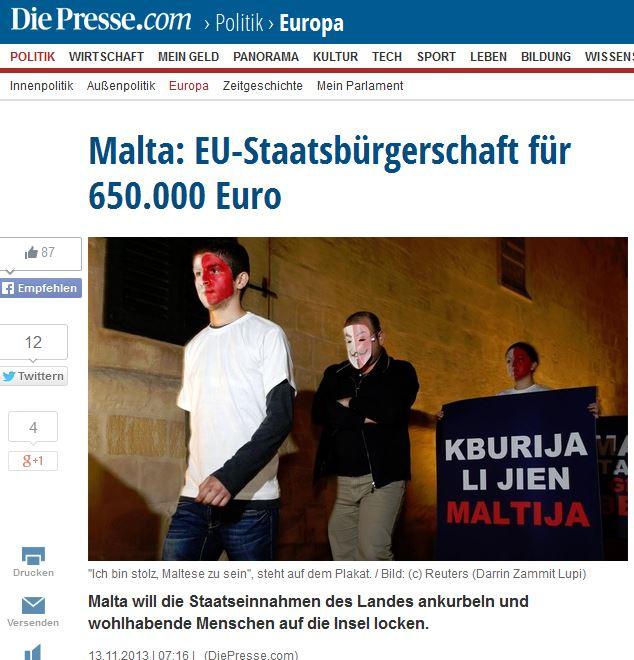 Die Presse/Austria: 'Malta: EU citizenship for 650,000 euros'
