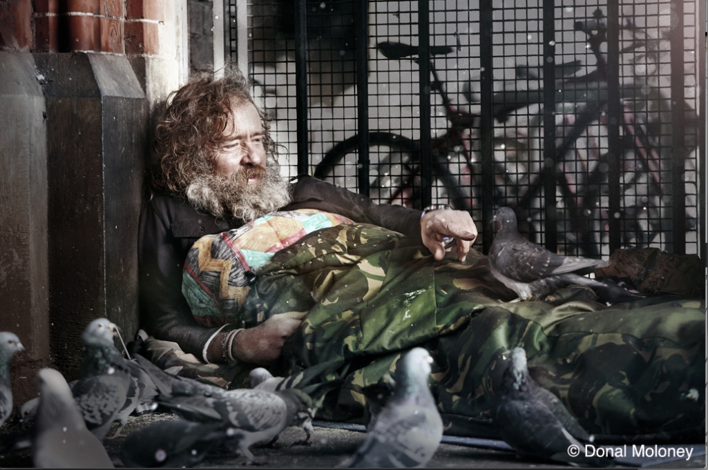 Martin the Pigeon Man, sleeping rough on the streets of Dublin: his accent shows him to be not only Maltese but 100% what they call 'tal-pepe'.