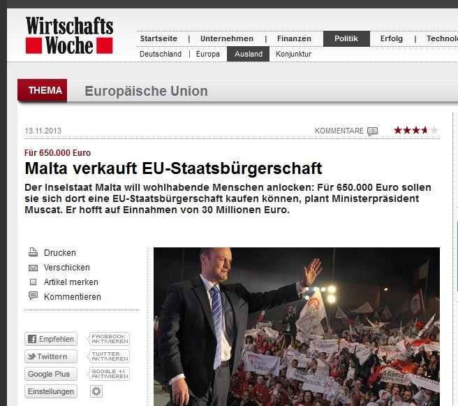 Wirtschafts Woche/Germany: 'Malta sells EU citizenship'