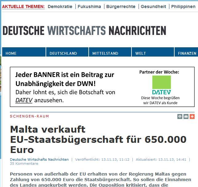 Deutsche Wirtschafts Nachrichten/Germany: 'Malta sells EU citizenship for Eur650,000'