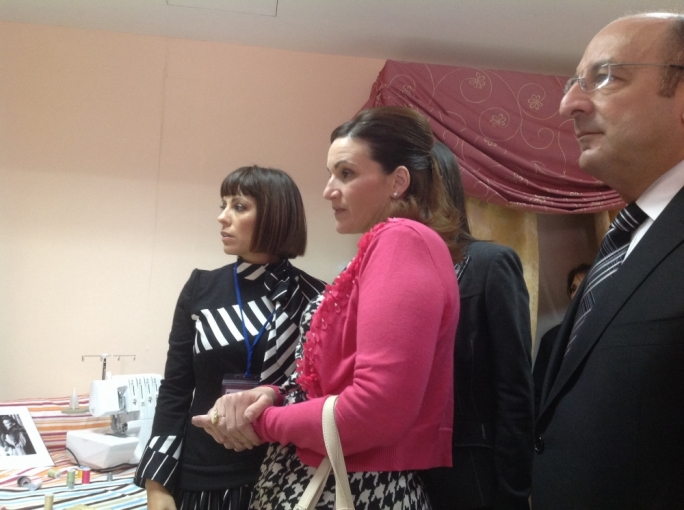 Mrs Muscat (centre) with Mary Grace Pisani and the new Social Policy Minister Michael Farrugia, at the prisons yesterday, admiring curtains made by prisoners.
