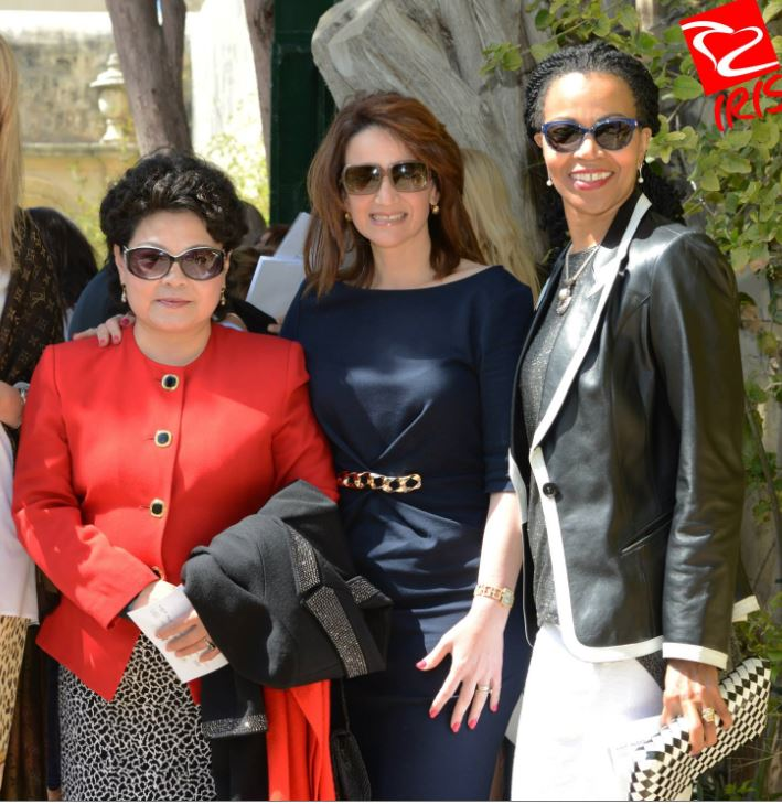 Mrs Muscat and the Taghna Lkoll US ambassador and Wang Jianqun, the Chinese ambassador's wife