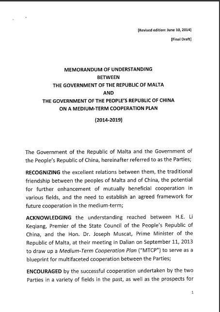 The Mou Between The Government Of Malta And China'S Communist