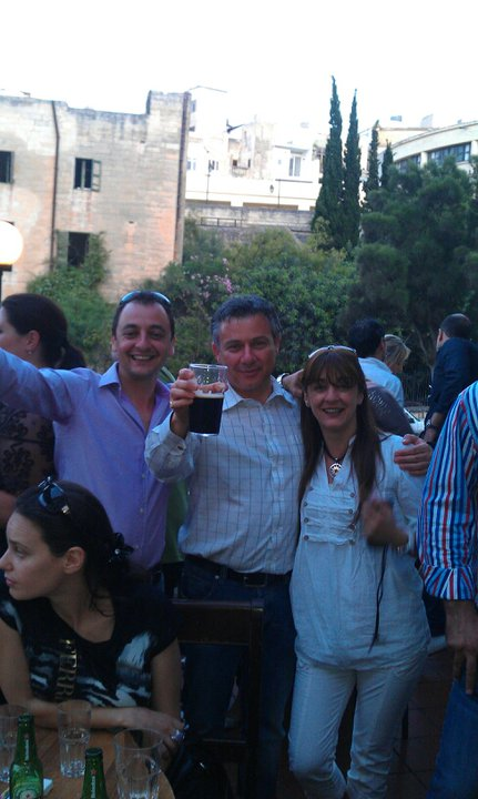 Far Right politician Sharon Ellul Bonici with Far Right ex politician Jeffrey Pullicino Orlando, chairman of the Malta Council for Science and Technology, and with her brother Andy Ellul, an ex policeman turned lawyer and Labour Party activist.