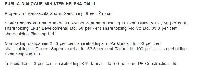 Helena Dalli declaration of assets