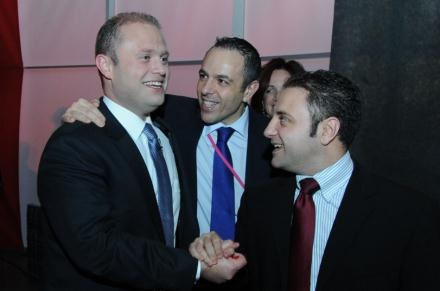 Joseph Muscat, Keith Schembri and Kurt Farrugia in March 2013.