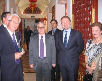 Reno Calleja (far left) is seen here with Labour Party lackey Godfrey Pirotta and with Joseph Muscat at an event organised by the Malta-China Friendship Society