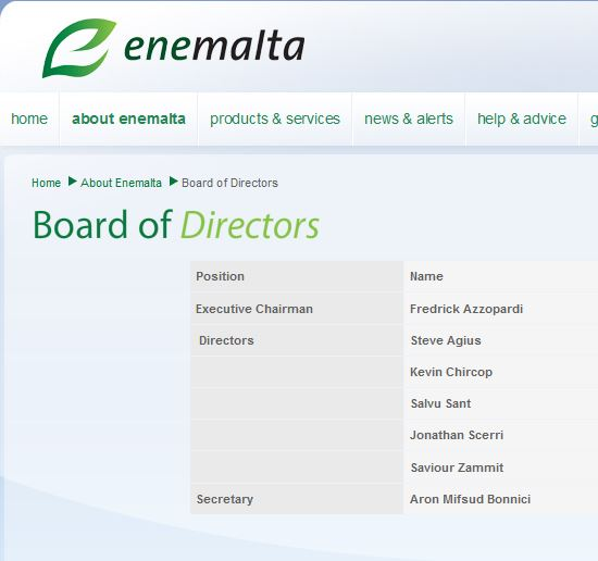 The board of directors at present, as listed on Enemalta Corporation's website