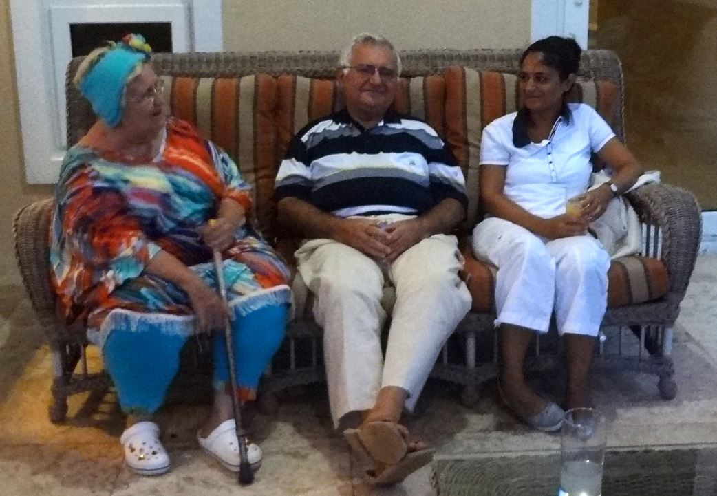 John Dalli with fraudster Mary Swan aka Lady Bird in the Bahamas in the summer of 2012. The younger woman is his daughter Louisa Dalli.