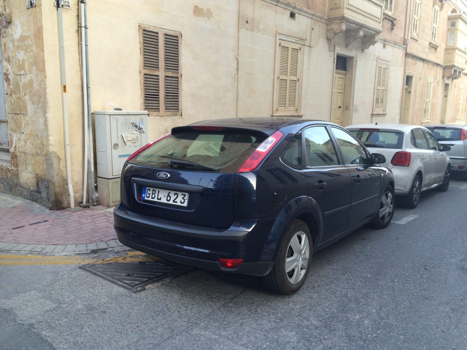 This car parked outside the flats belongs to Jonathan Ferris, who heads the Economic Crimes Unit of the Malta Police.