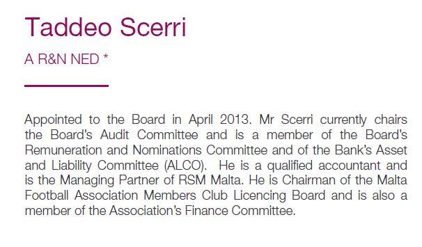 Deo Scerri's Bank of Valletta bio