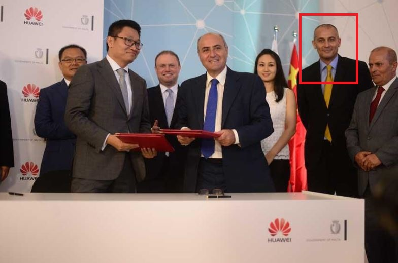 Joseph Cuschieri, the foreign minister's son-in-law and executive chairman of the Malta Gaming Authority, marked in red