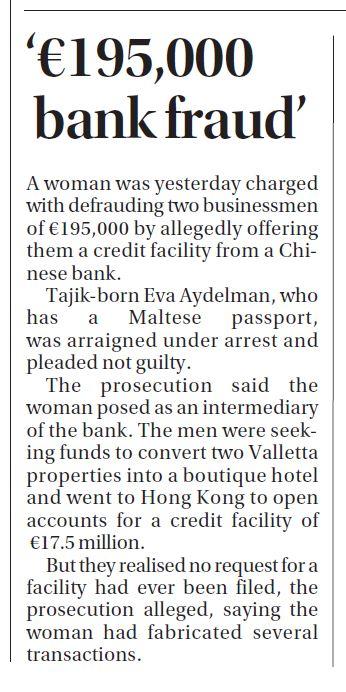 In Times of Malta's print edition yesterday - did Eva Aydelman buy her Maltese passport?