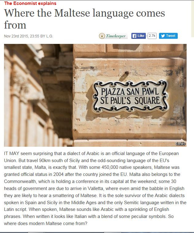 a history and linguistics of the maltese language Language: a a a signup sign in toggle navigation the government main about malta history and culture history of the maltese islands for a full list of sites of interest and more on malta's history.