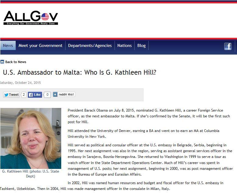 At last, a new US ambassador for Malta: Kathleen Hill - Daphne ...