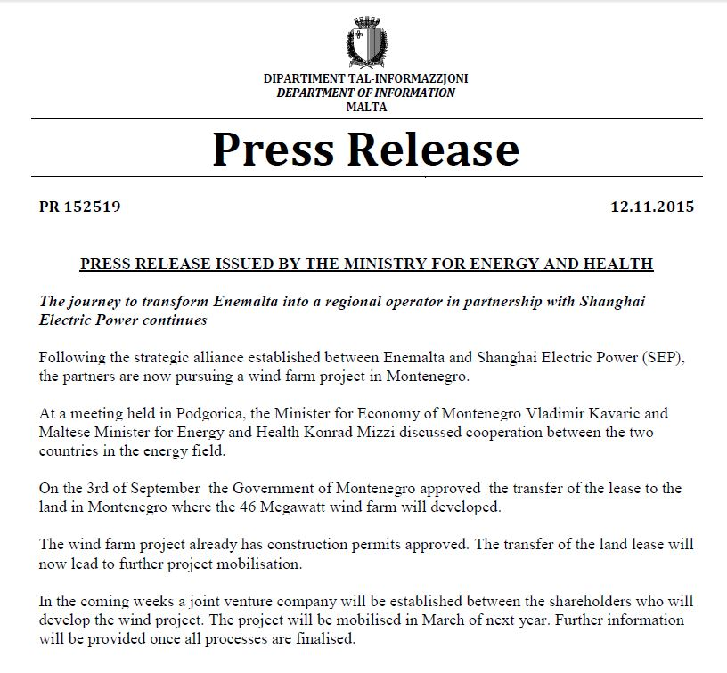 press release montenegro