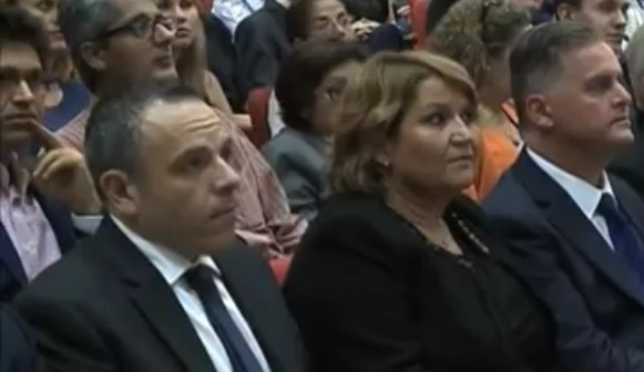 Keith Schembri (left) with Phyllis Muscat in London