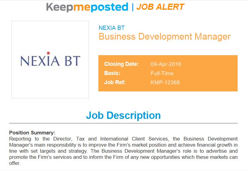 ThereS A Vacancy At Nexia Bt For A Business Development Manager
