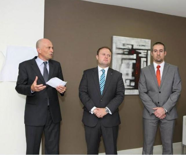 Left to right: Brian Tonna, Joseph Muscat and Karl Cini at the opening of Nexia BT's new offices three years ago.