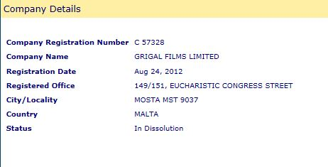 Grigal Films Ltd company number and registered address