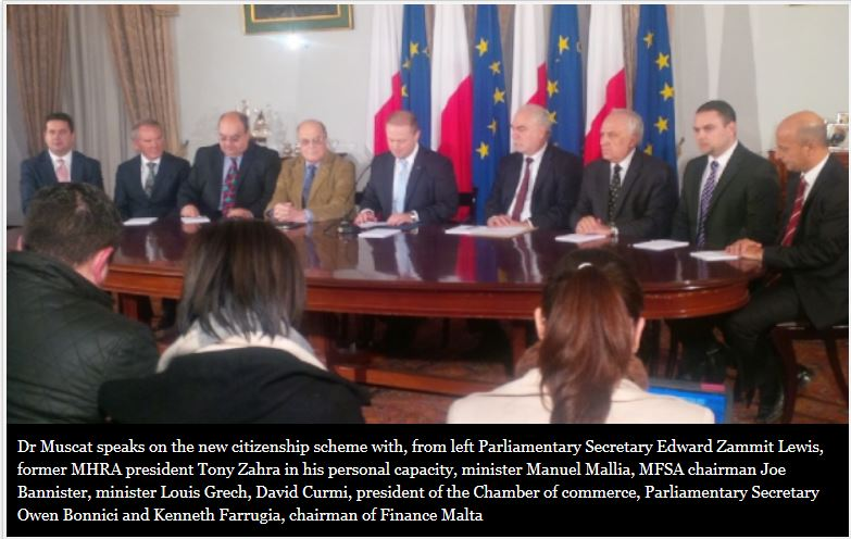 This photograph of the Prime Minister's press conference to announce the 'improved' version of the sale of citizenship programme was published in the Times of Malta in December 2013.