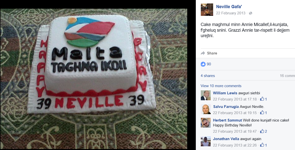 NEVILLE GAFA BIRTHDAY CAKE